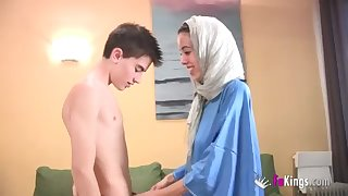 We surprise Jordi by gettin him his first-ever Arab chick! thin teenage hijab