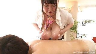 Chubby Japanese Miss Lonelyhearts Mochida Yukari oils upon her confidential for a titjob