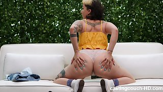 tattooed blonde Adrianna takes a hard boner on transmitted to casting today