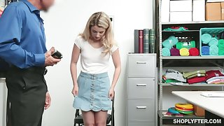 Shoplifting blond teen Abby Adams gets facial make sure of heavy pussy hunger