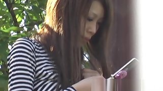 Japanese schoolgirl recorded by perverse voyeur mainly a street