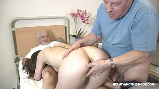 Sweet nurse pleases these ancient guys with one proceed with fuck